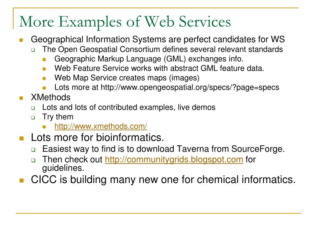More Examples of Web Services