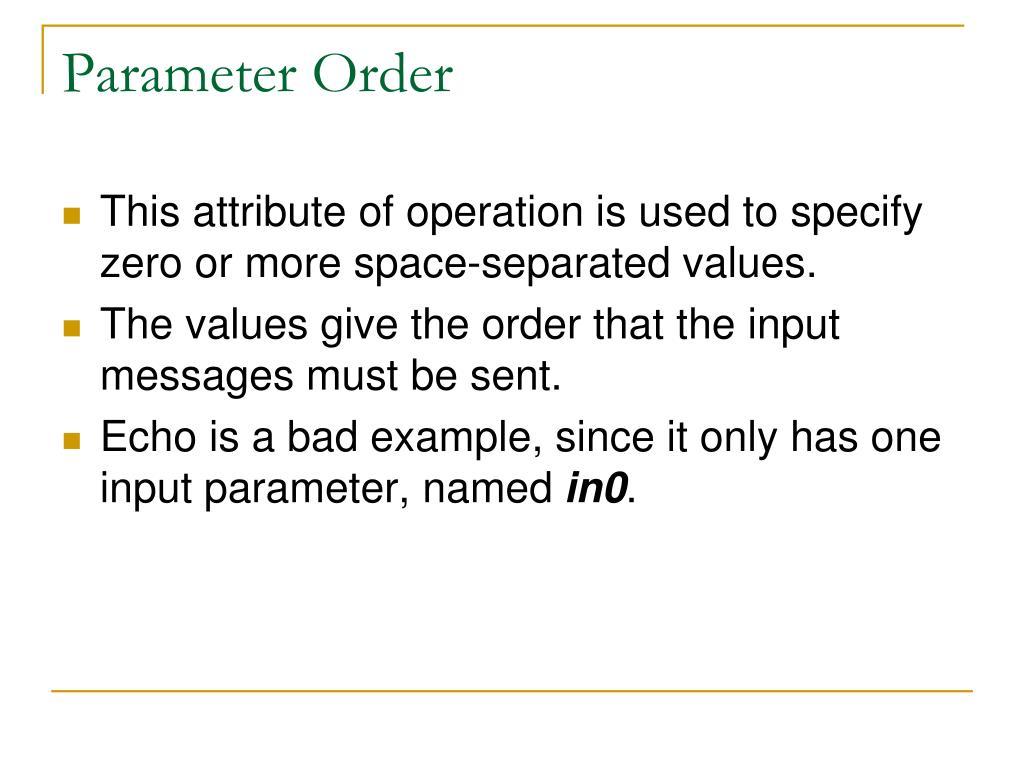 Parameter Order