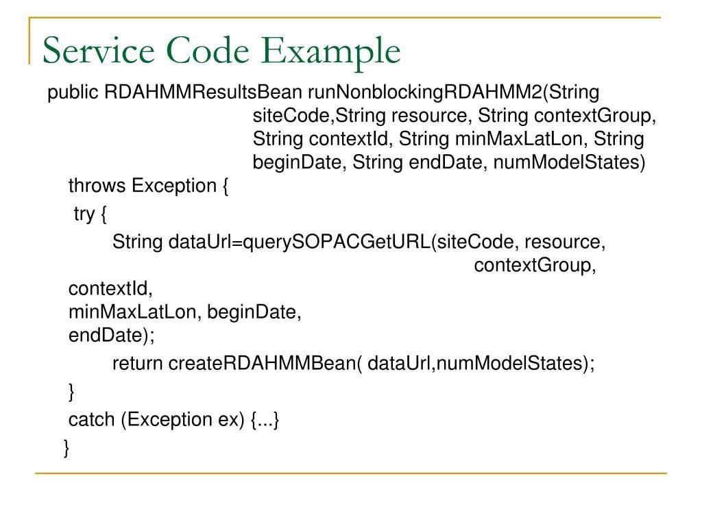 Service Code Example