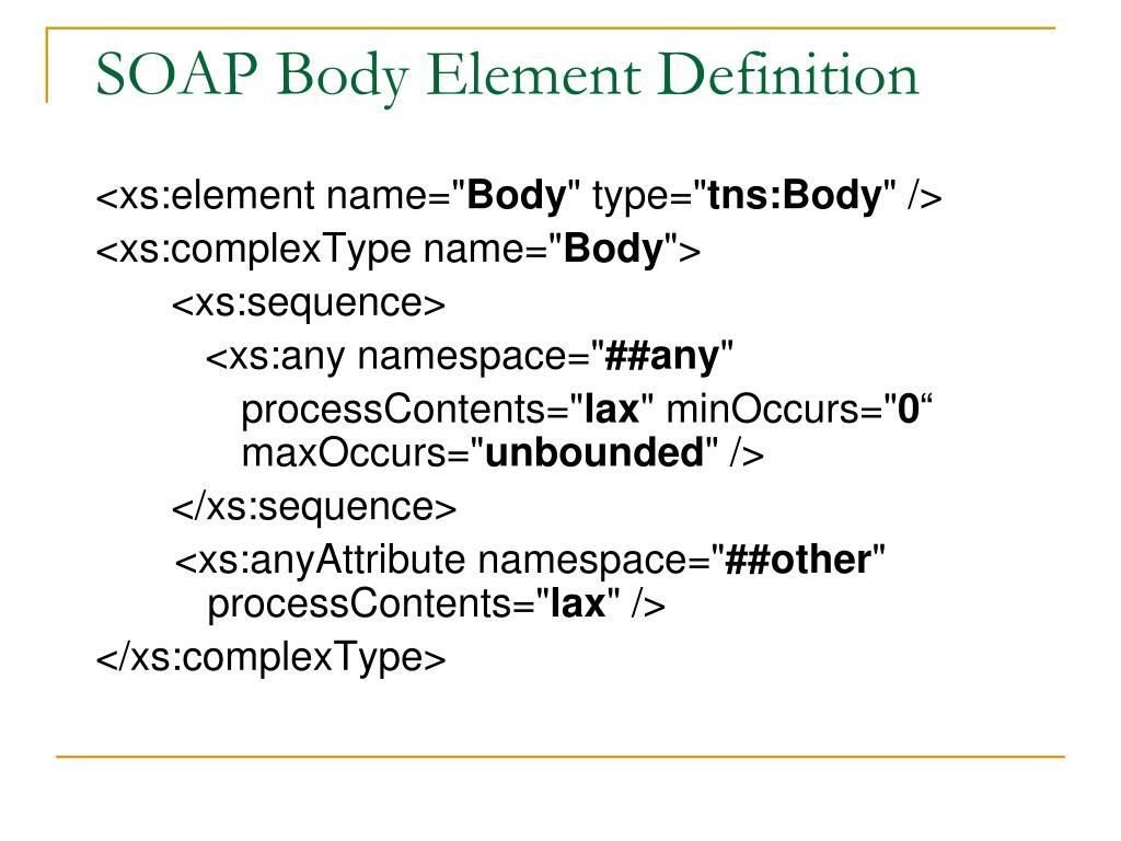SOAP Body Element Definition