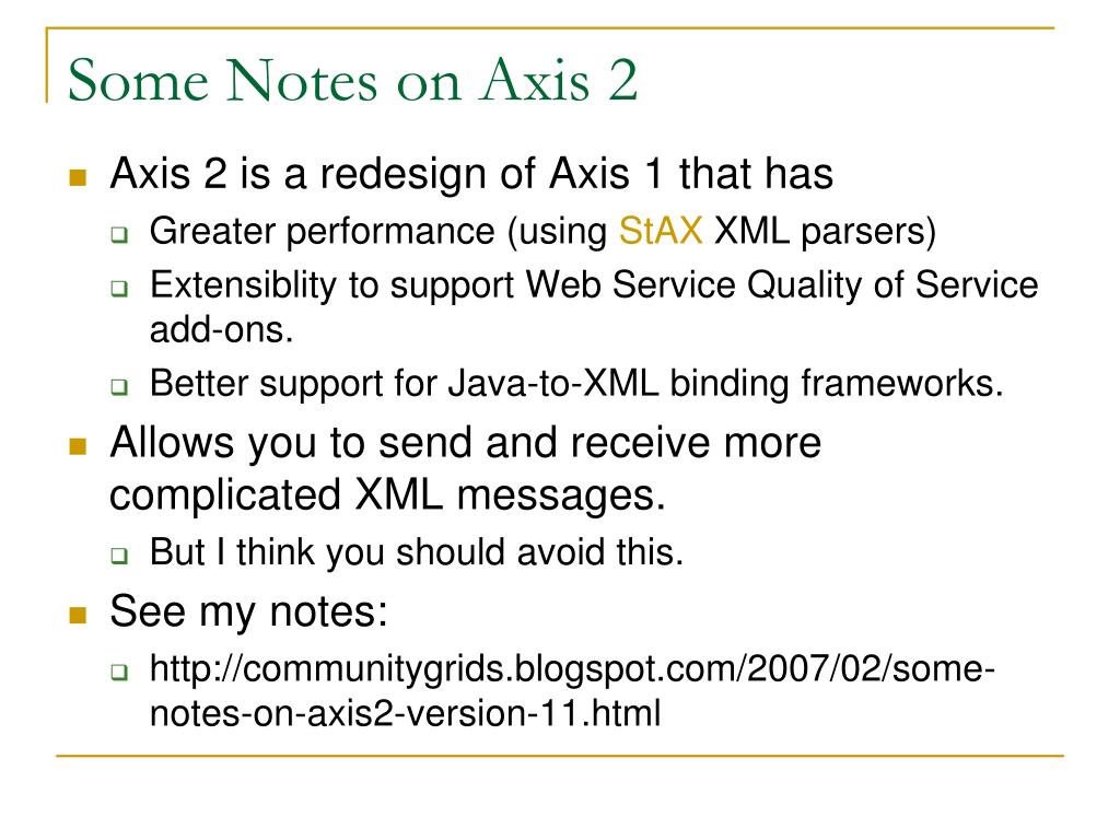 Some Notes on Axis 2