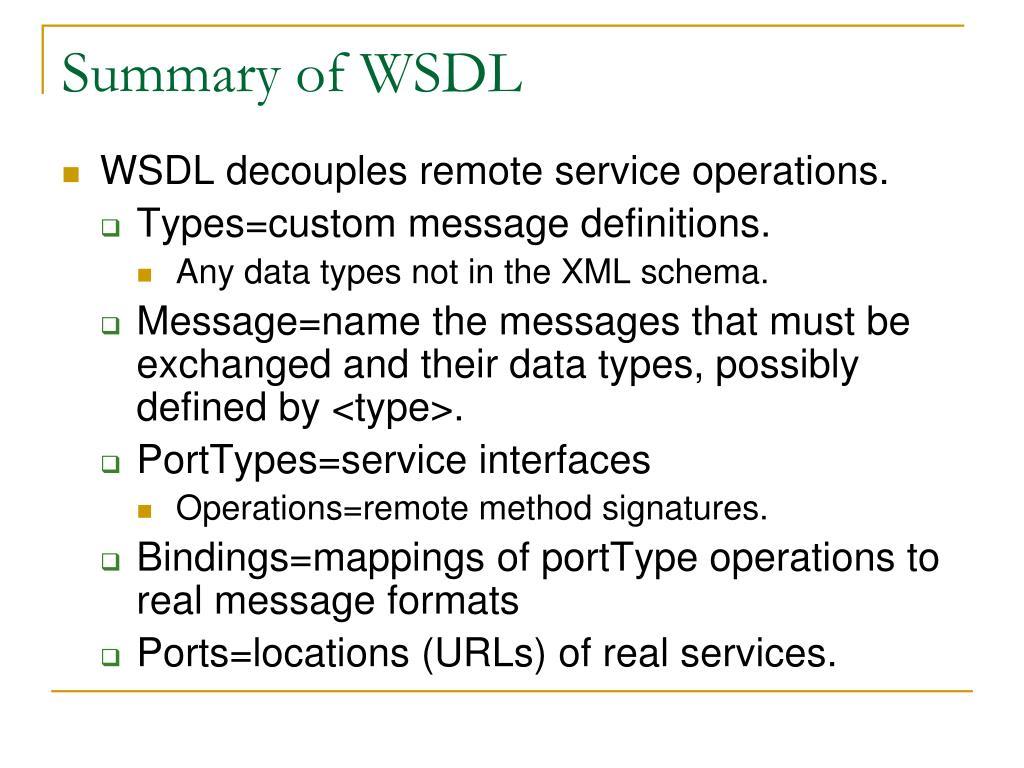 Summary of WSDL