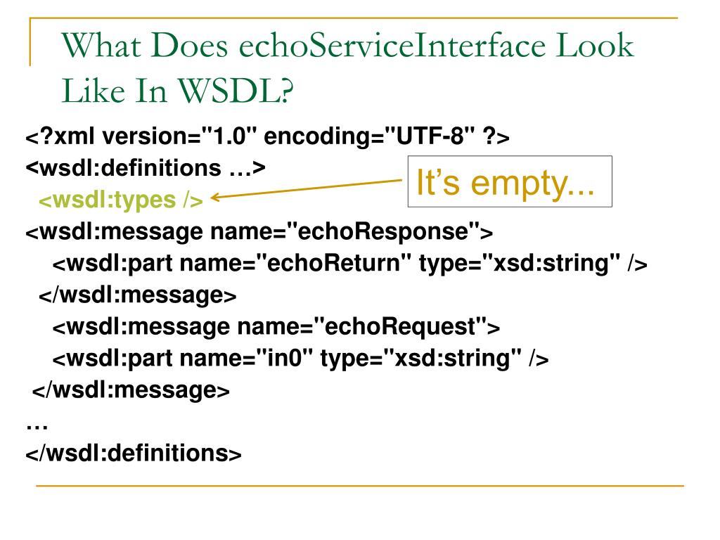 What Does echoServiceInterface Look Like In WSDL?