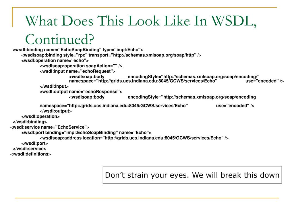 What Does This Look Like In WSDL, Continued?