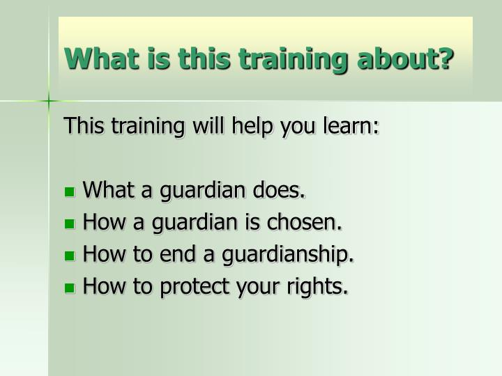 What is this training about