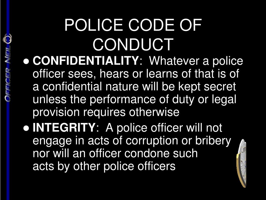 POLICE CODE OF CONDUCT