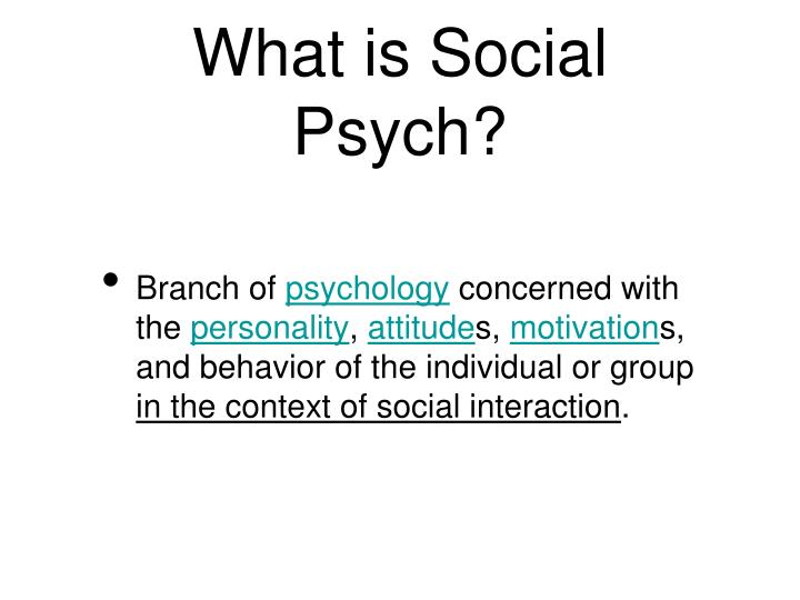 What is social psych