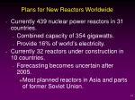 plans for new reactors worldwide