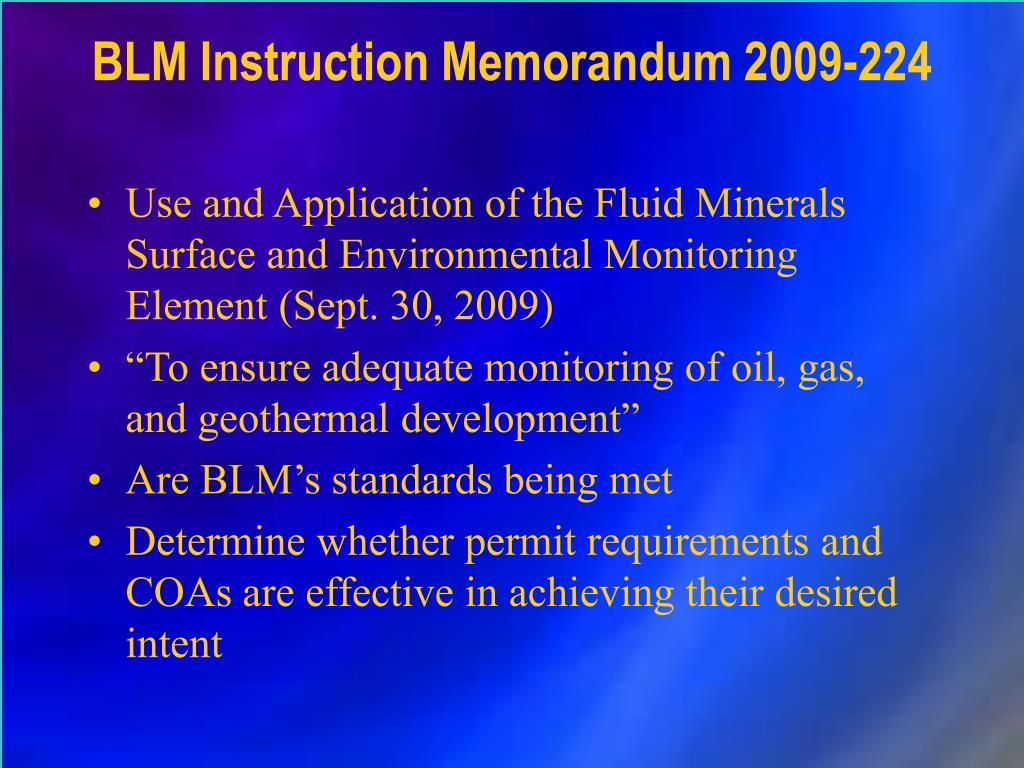 BLM Instruction Memorandum 2009-224