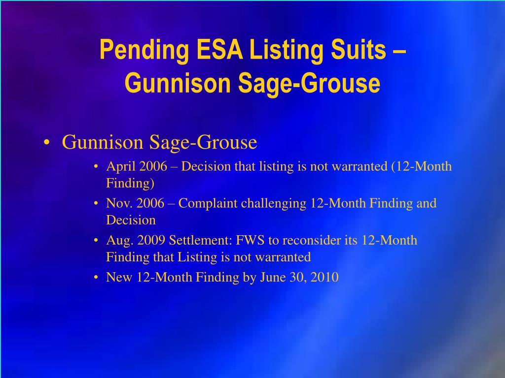 Pending ESA Listing Suits – Gunnison Sage-Grouse
