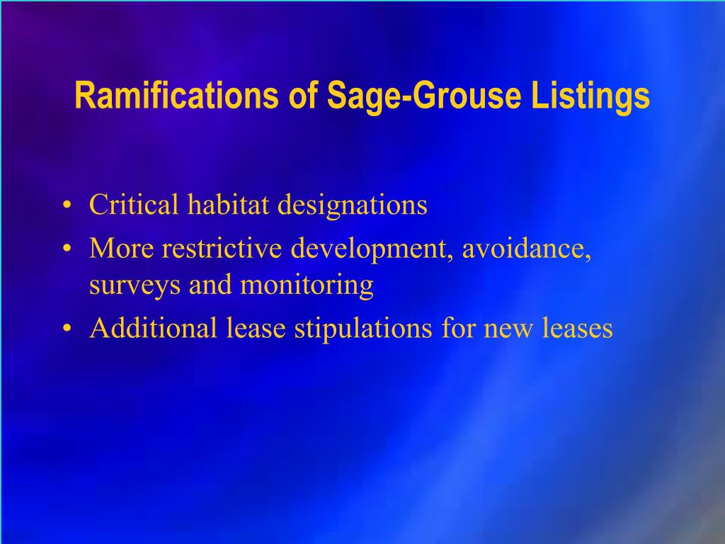 Ramifications of Sage-Grouse Listings