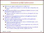 limitations of sql authorization