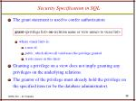 security specification in sql