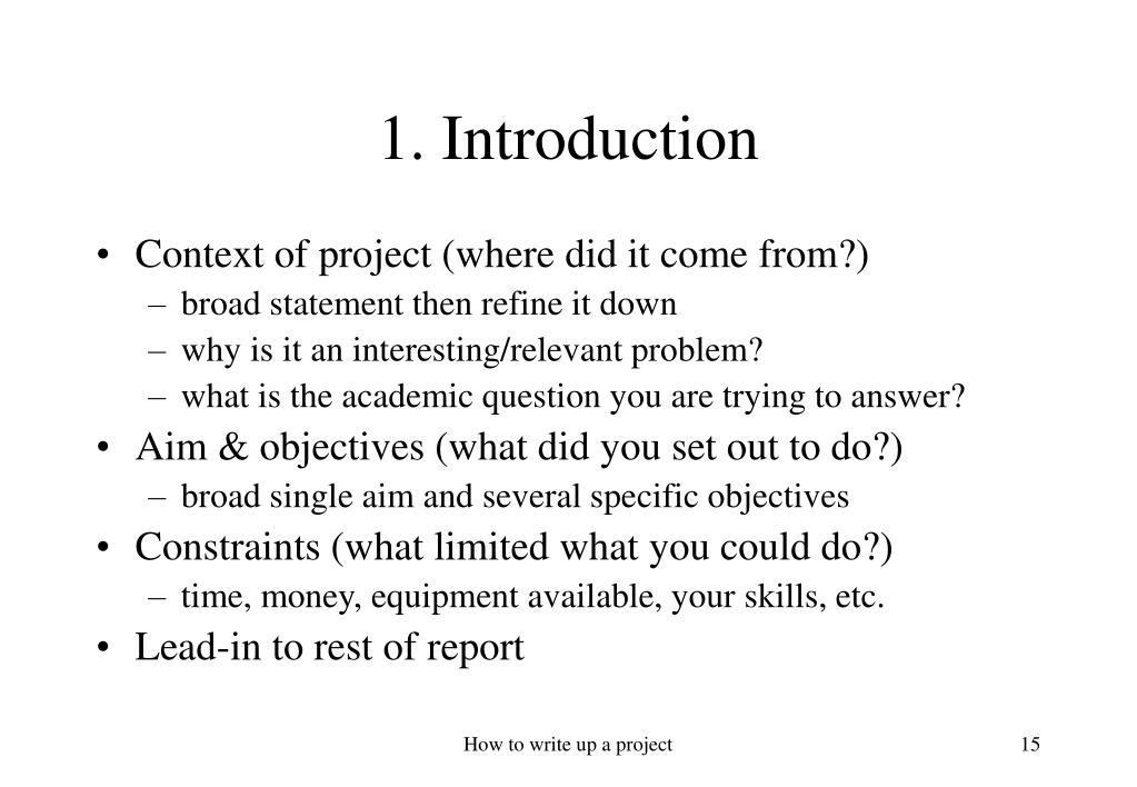 how to write an introduction for a project