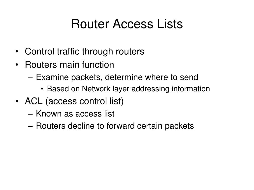 Router Access Lists