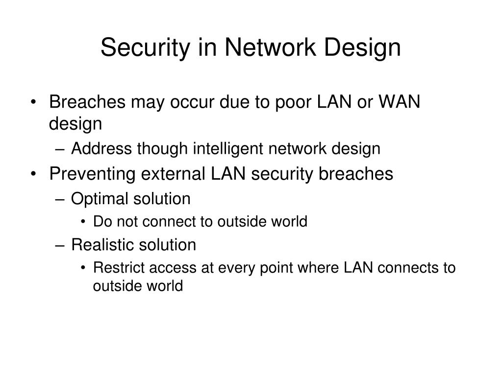 Security in Network Design