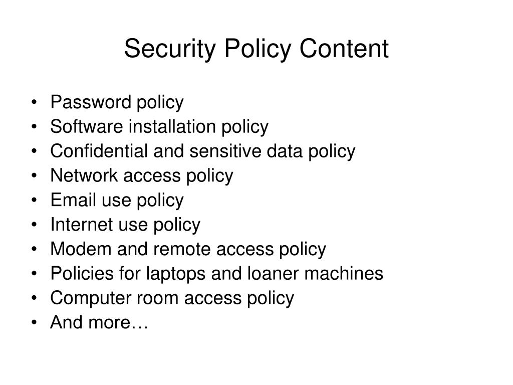 Security Policy Content
