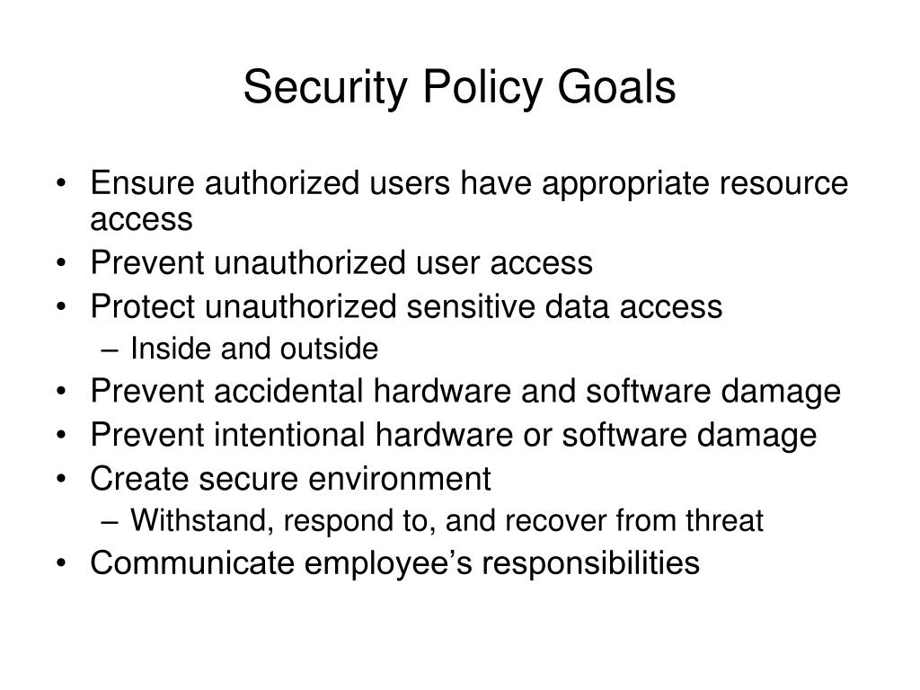 Security Policy Goals