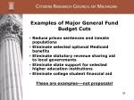 examples of major general fund budget cuts