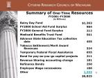 summary of one time resources fy2001 fy2006 in millions