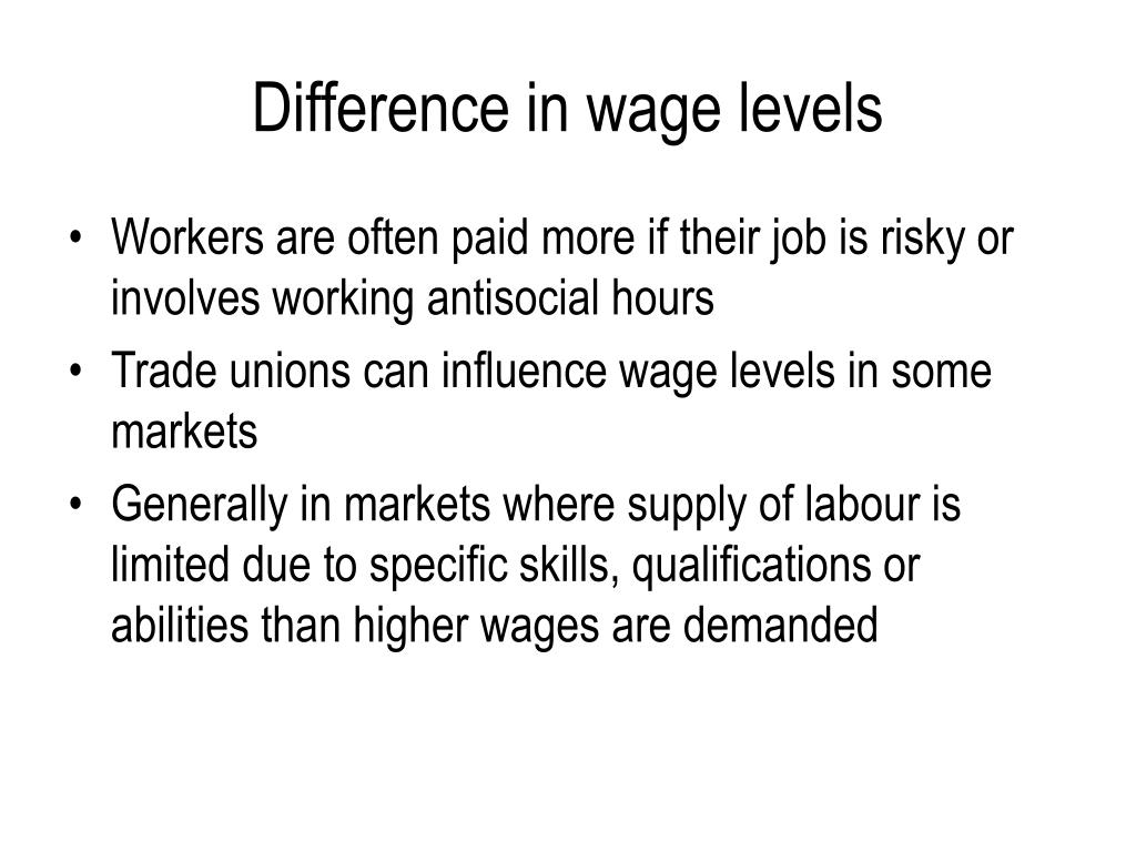 Difference in wage levels