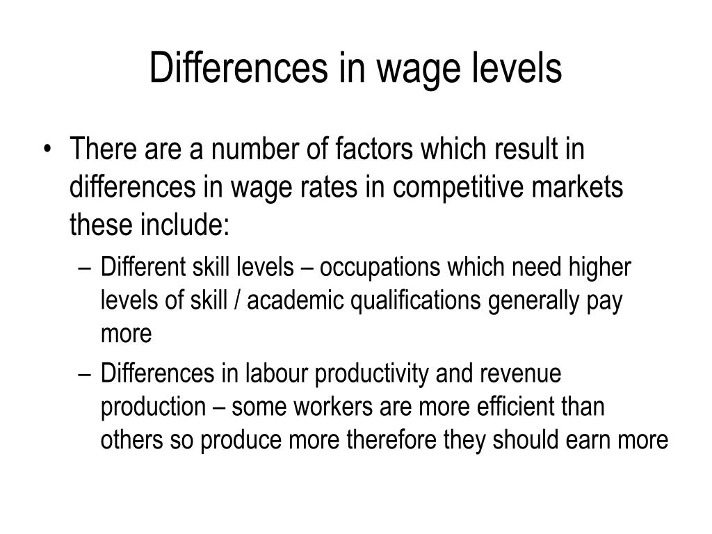 Differences in wage levels