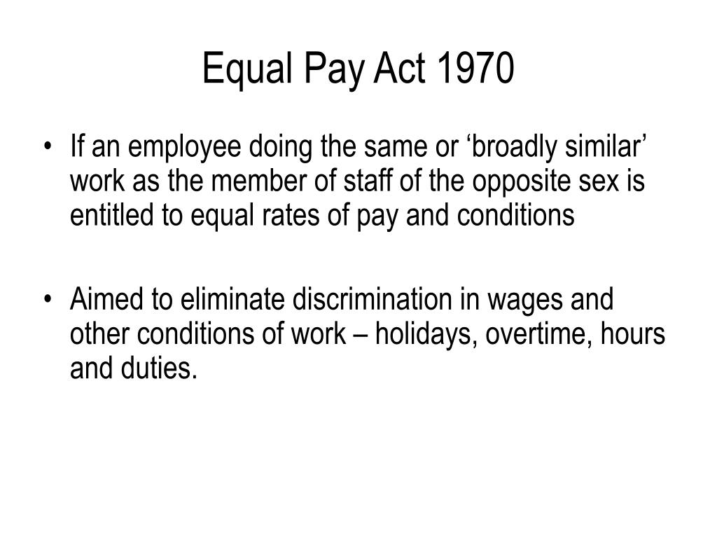 Equal Pay Act 1970