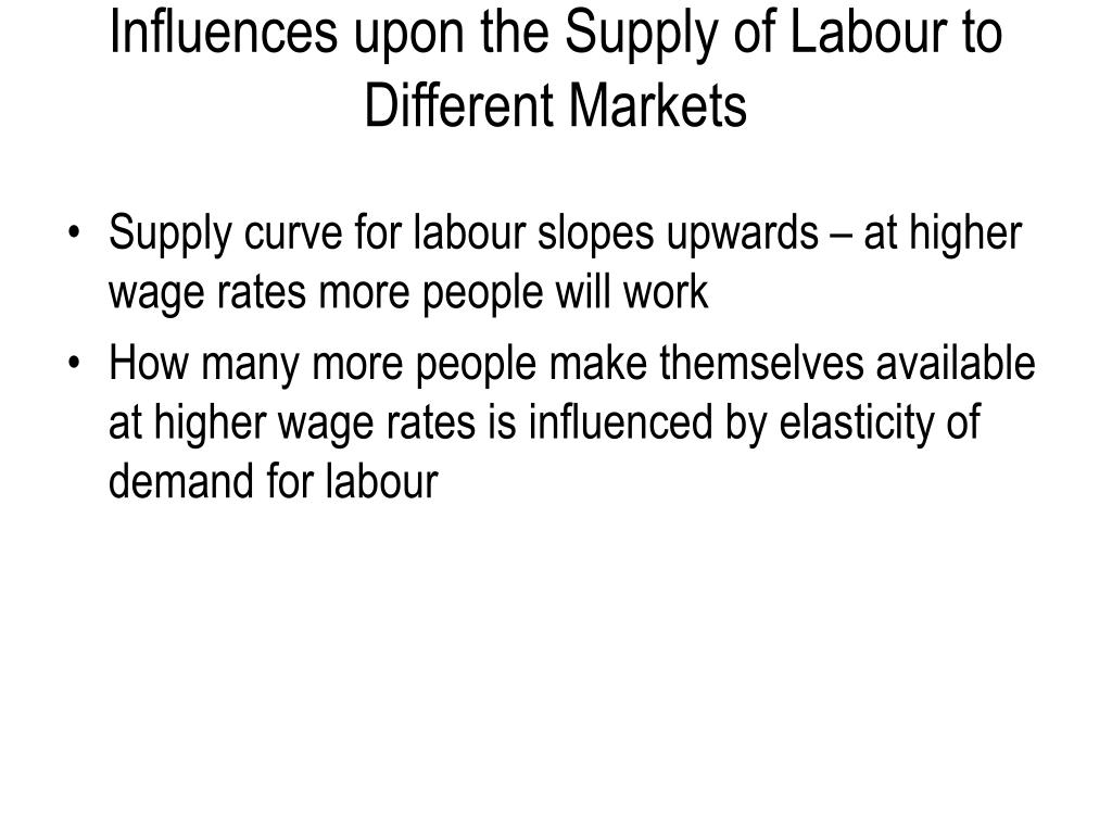 Influences upon the Supply of Labour to Different Markets