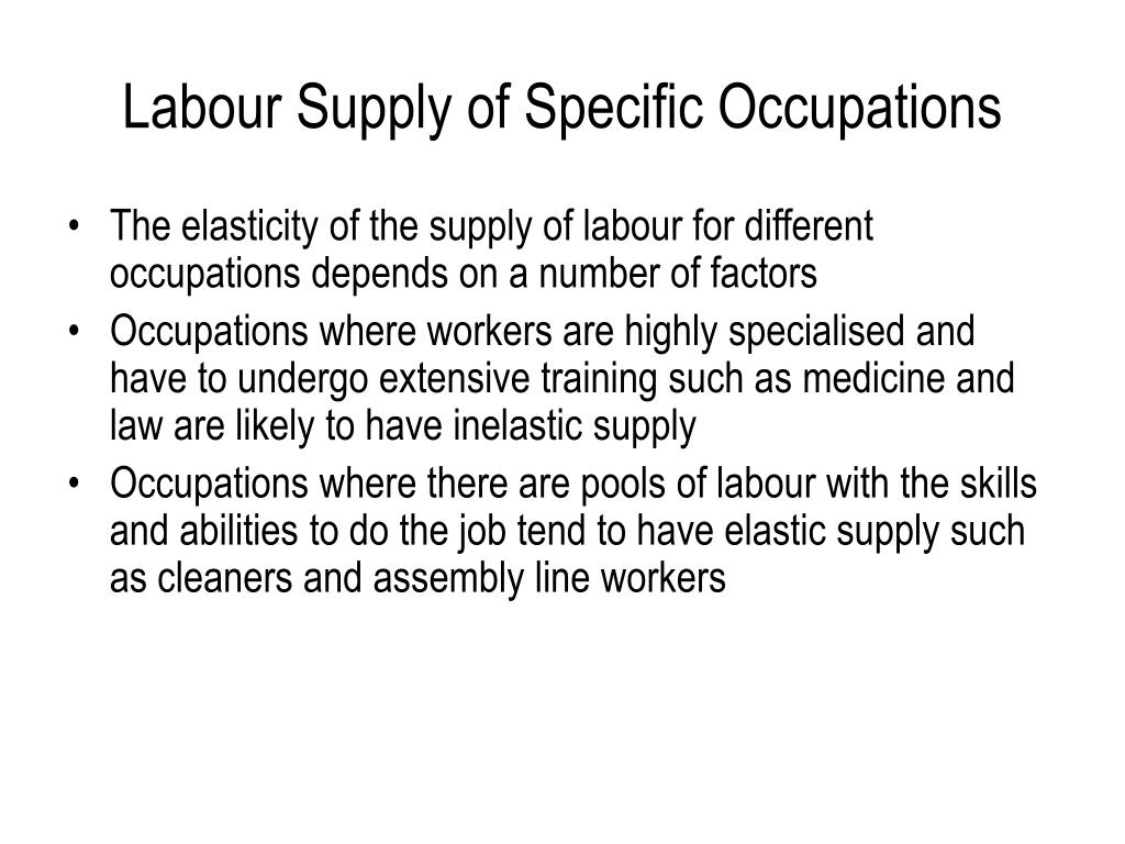 Labour Supply of Specific Occupations