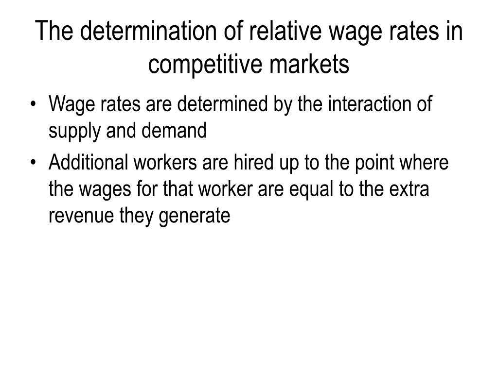 The determination of relative wage rates in competitive markets