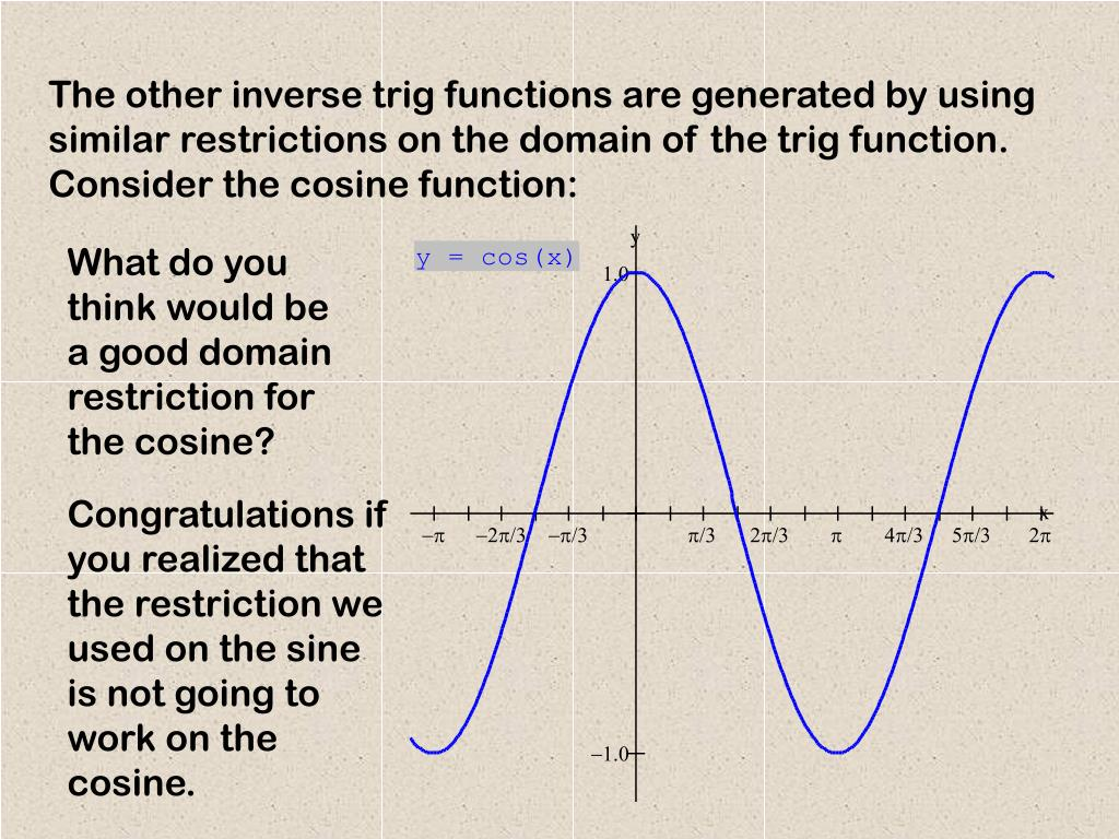The other inverse trig functions are generated by using similar restrictions on the domain of the trig function. Consider the cosine function: