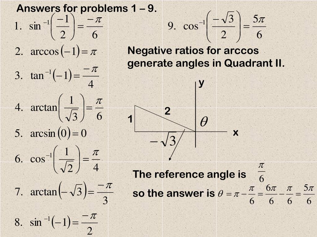 Answers for problems 1 – 9.