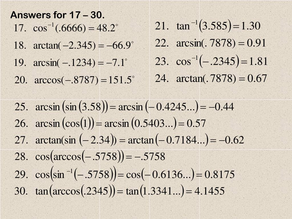 Answers for 17 – 30.