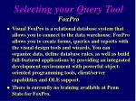 selecting your query tool foxpro