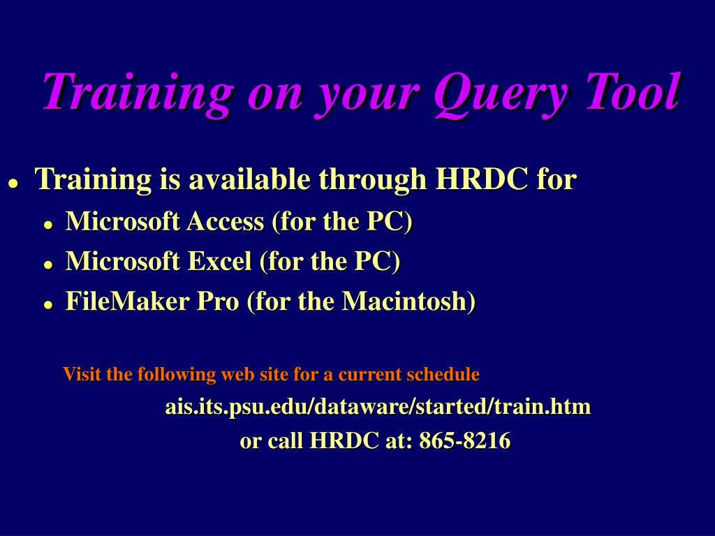 Training on your Query Tool