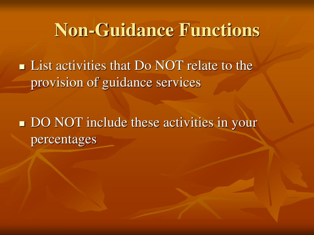 Non-Guidance Functions