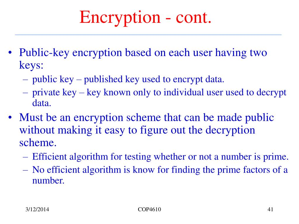 Encryption - cont.