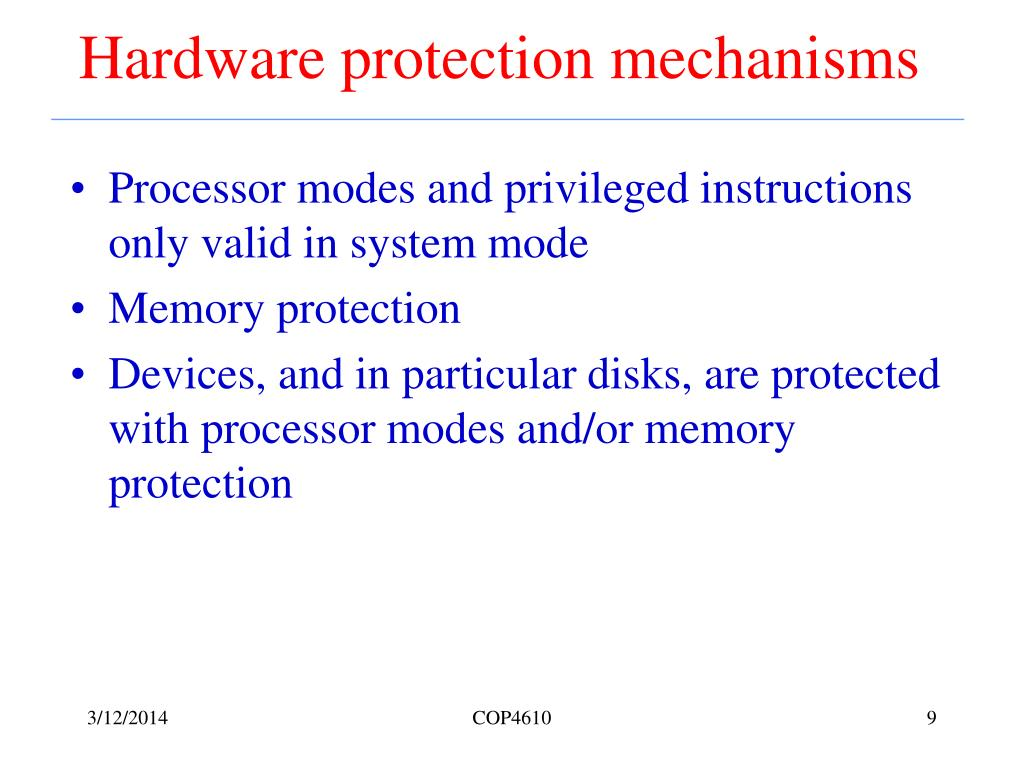 Hardware protection mechanisms