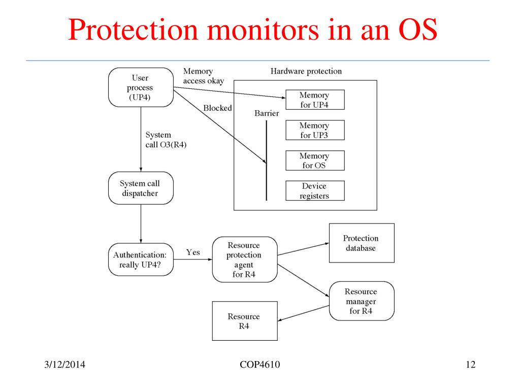 Protection monitors in an OS