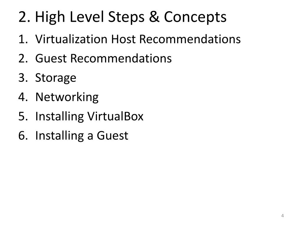 2. High Level Steps & Concepts