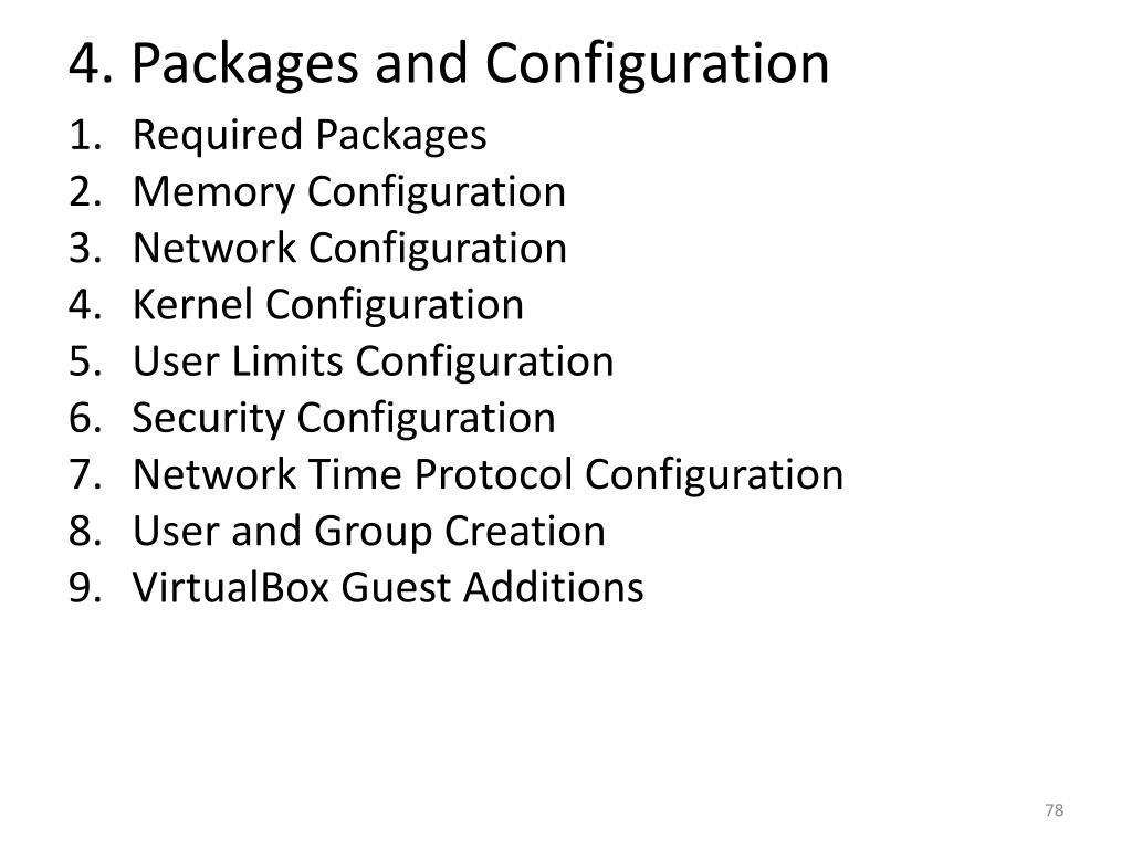 4. Packages and Configuration
