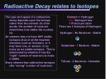 radioactive decay relates to isotopes