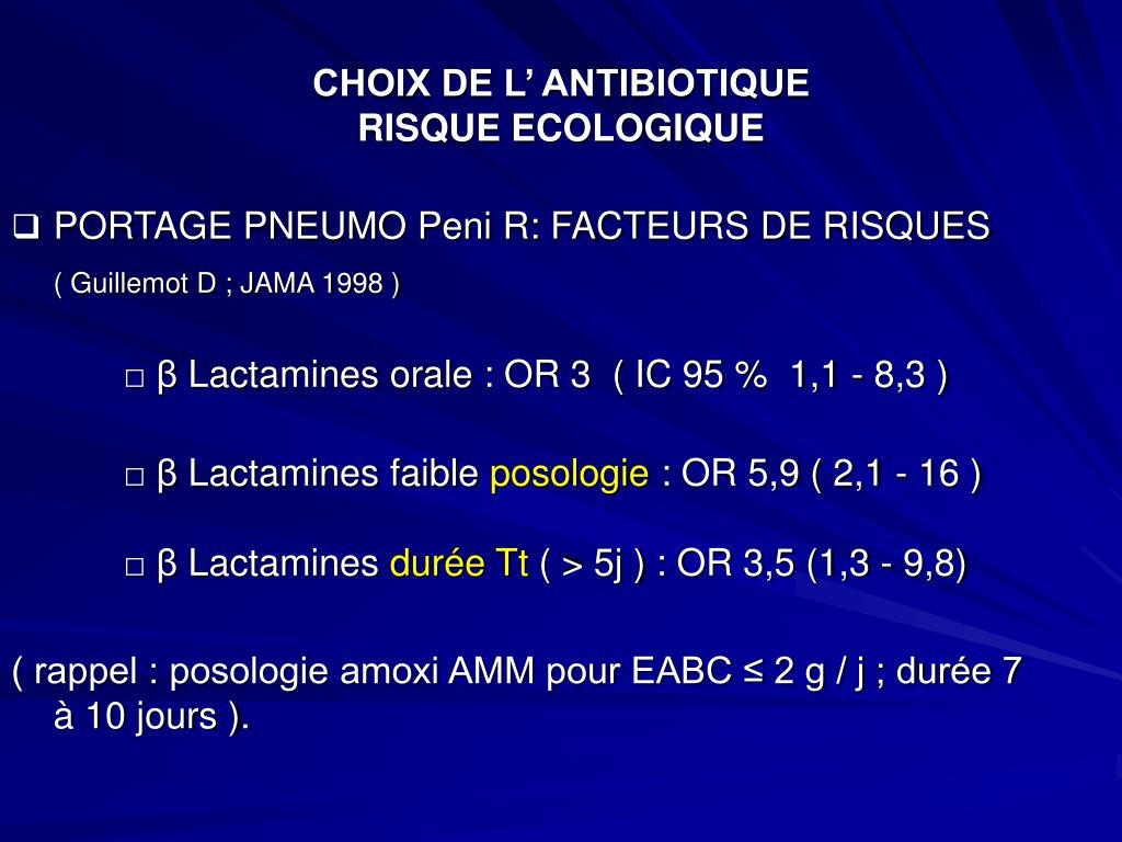 CHOIX DE L' ANTIBIOTIQUE