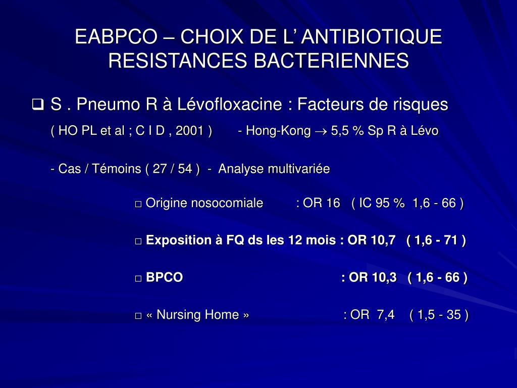 EABPCO – CHOIX DE L' ANTIBIOTIQUE