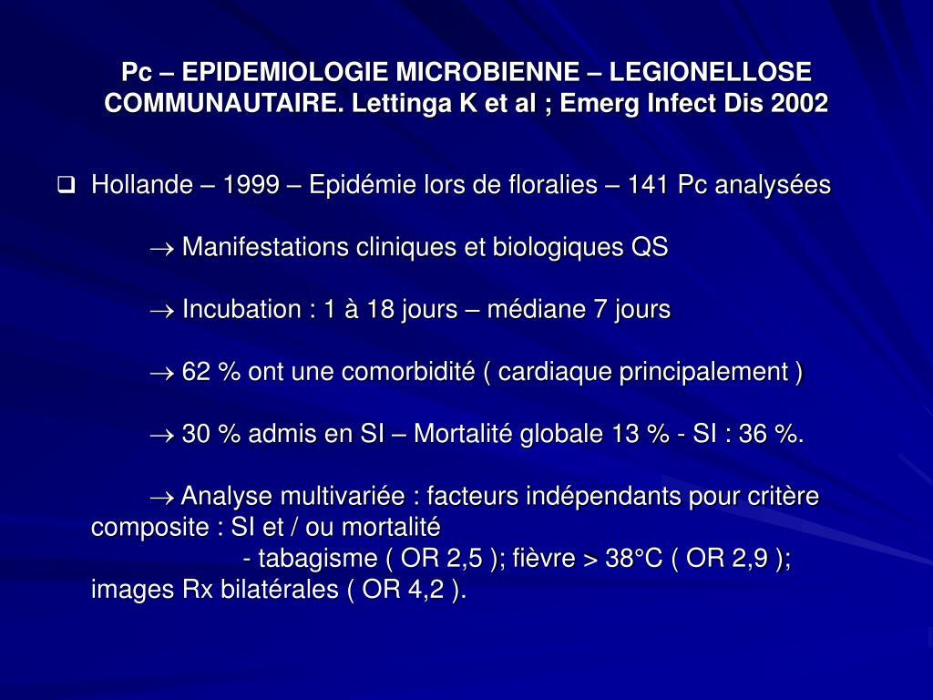 Pc – EPIDEMIOLOGIE MICROBIENNE – LEGIONELLOSE COMMUNAUTAIRE. Lettinga K et al ; Emerg Infect Dis 2002