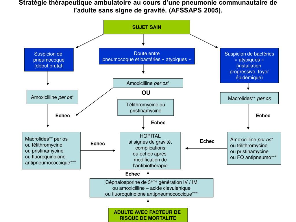 Stratégie thérapeutique ambulatoire au cours d'une pneumonie communautaire de l'adulte sans signe de gravité. (AFSSAPS 2005).