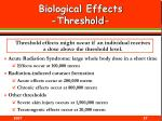 biological effects threshold