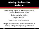 missing radioactive material