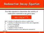 radioactive decay equation