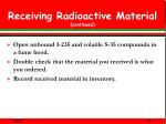 receiving radioactive material continued